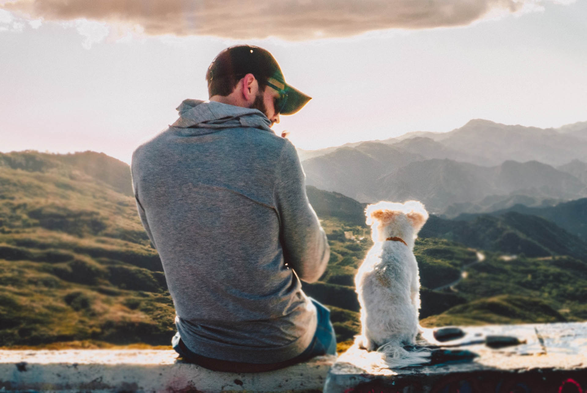 Man and his dog outdoors